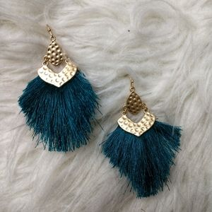 🆕CLAIRE- Dark Turquoise Drop Fringe Earrings